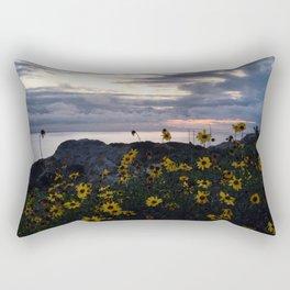 Yellow Flowers Sunset Southern California Beach Rectangular Pillow