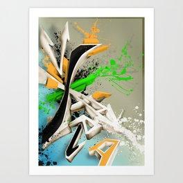 Extra grafitti 3d abstract design Art Print