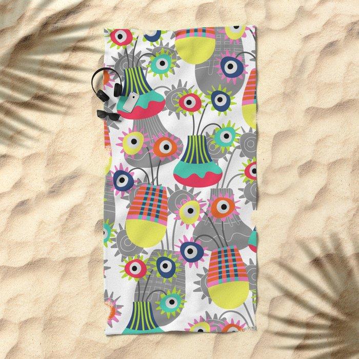 Flower Pots Beach Towel