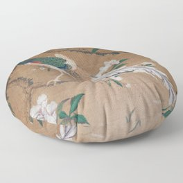 Antique French Chinoiserie in Tan & White Floor Pillow