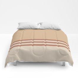 Cavern Clay SW 7701 and Creamy Off White SW7012 Horizontal Stripes on Ligonier Tan SW 7717 Comforters