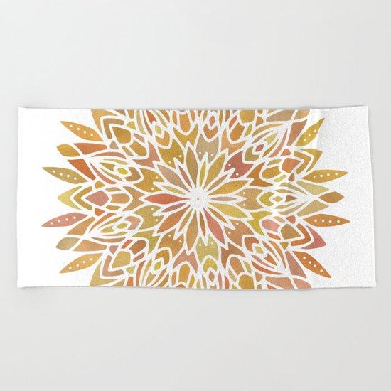Mandala Desert Copper Gold Beach Towel