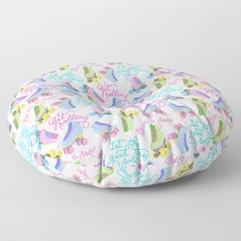 Roller Skates Pattern (White Background) Floor Pillow