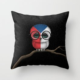 Baby Owl with Glasses and Czech Flag Throw Pillow