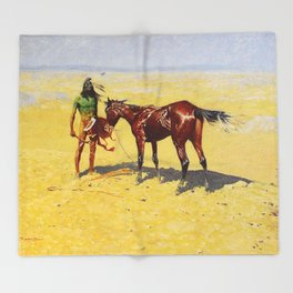 "Frederic Remington Western Art ""Hunted Down"" Throw Blanket"
