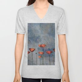 Poppyfield against the blue sky - abstract watercolor artwork Unisex V-Neck
