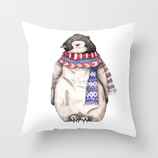 Baby Penguin in Red and Blue Scarf. Winter Season Throw Pillow