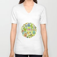 mexico V-neck T-shirts featuring Viva Mexico by Favete Art