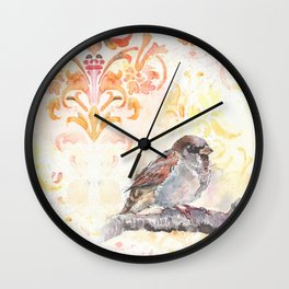 Sparrow in a Damask Autumn Wall Clock