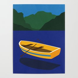 Boat On The Mountain Lake Poster