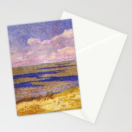 Barrier Beach and Salt Ponds, Summer seaside ocean landscape painting by Theo Van Rysselberghe Stationery Cards