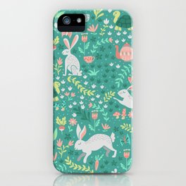 Spring Pattern of Bunnies with Turtles iPhone Case