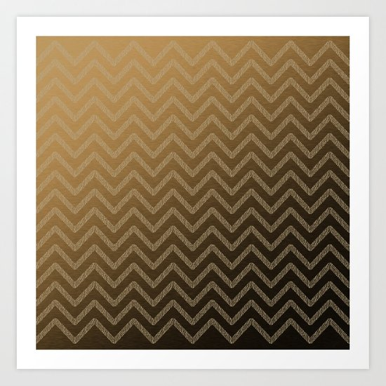 Brass glitter chevron pattern Art Print