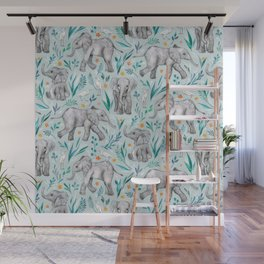 Baby Elephants and Egrets in Watercolor - egg shell blue Wall Mural