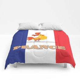 France cockerel travel poster Comforters