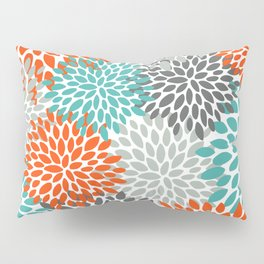 Floral Pattern, Abstract, Orange, Teal and Gray Pillow Sham