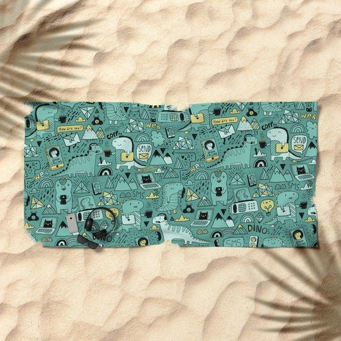 Communication Dinosaurs Beach Towel