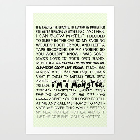 Various Buster Bluth Quotes Art Print