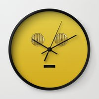 c3po Wall Clocks featuring minimalist c3po by designoMatt