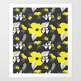 Black flowers art prints society6 mightylinksfo