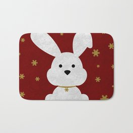 Christmas Bunny Red Marble Bath Mat