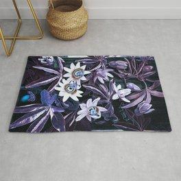 Temple of Flora Midnight Blue Purple Rug