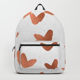 Rose Gold Pink Hearts on Paper Backpack