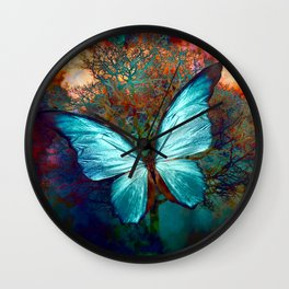 The Blue butterfly Wall Clock