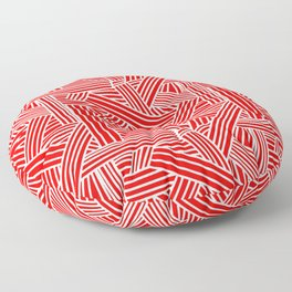 Sketchy Abstract (White & Red Pattern) Floor Pillow