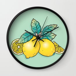 Lemons and Leaves Wall Clock