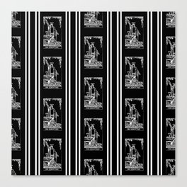 Black and White Repeating Tarot Pattern - The Magician Canvas Print