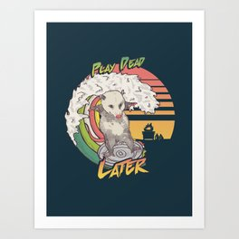 Play Dead Later - Funny Opossum T Shirt Rainbow Surfing On A Dumpster Can Lid Searching For Trash, Burning Dumpster Panda Summer Vibes Street Cats Possum Art Print