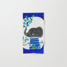 elephant with raindrops in blue watercolor illustration Hand & Bath Towel