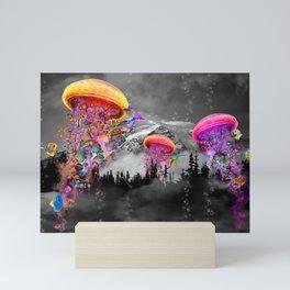 Electric Jellyfish Mountain  Mini Art Print