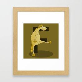 Pony Monogram Letter F Framed Art Print