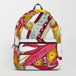 Watercolor Firebird Phoenix Fantasy Bird with Red Pink Yellow Feathers Backpack