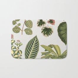 Botanical Green Plants Watercolor Painting Bath Mat