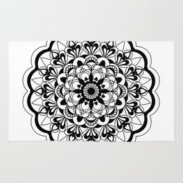 black&white mandala with flower Rug