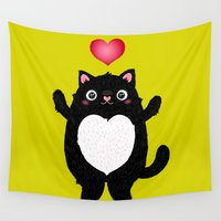 fat Wall Tapestries featuring Fat Cat by Anna Alekseeva kostolom3000