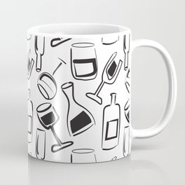 Wine Lovers Illustrated Wine Glasses and Wine Bottles Coffee Mug