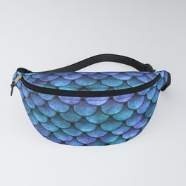 Blue Turquoise Watercolor Mermaid Scale Pattern Fanny Pack