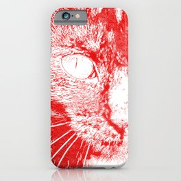 Fluffy's eyes drawing, red iPhone Case