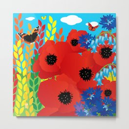 CORNFIELD with BUTTERFLIES Metal Print