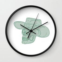 Cowboy Skull Drawing Wall Clock