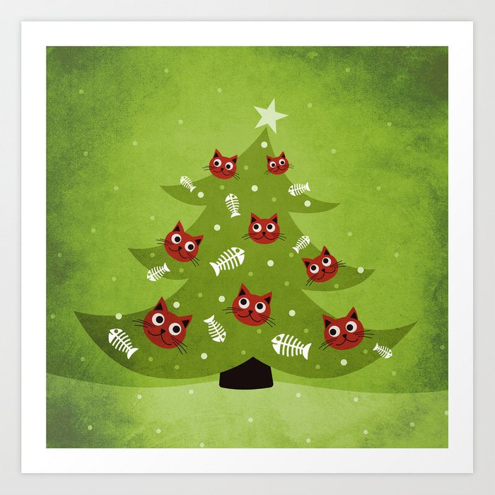 Cat Christmas Tree Art Print
