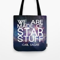 carl sagan Tote Bags featuring Carl Sagan Quote - Star Stuff by Yellow Bird Designs