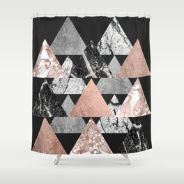 Marble Rose Gold Silver and Floral Geo Triangles Shower Curtain
