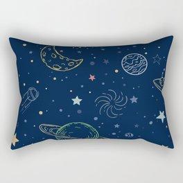 space in blue Rectangular Pillow