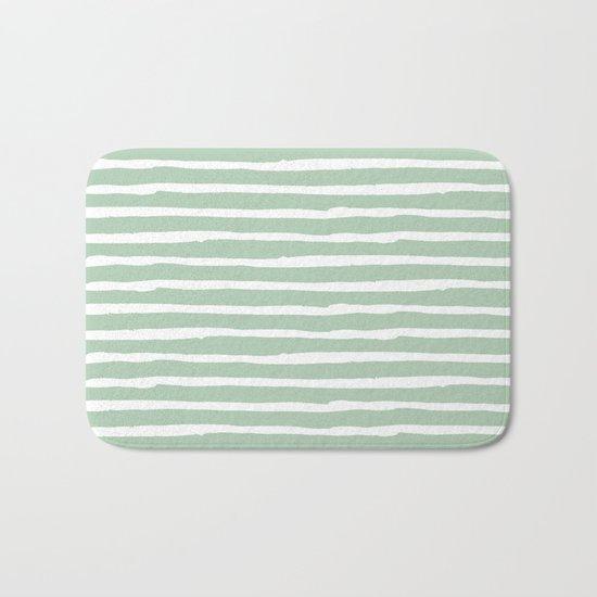 Elegant Stripes Pastel Cactus Green and White Bath Mat