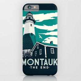 Montauk Light House Retro Vintage beach iPhone Case